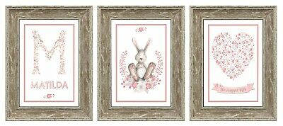 Personalised Nursery Rabbit Prints Set of 3 New Baby Girl Gift A4 Prints Only