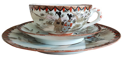 Kutani 19th century Teabowl and saucer Hand painted Trio