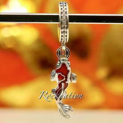 Good Fortune Carp Authentic Pandora Sterling Silver and 14K Charm 797829CZ