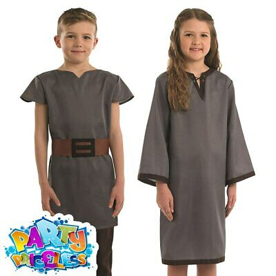 Childs Anglo Saxons Costume Boys Girls Medieval Kids Fancy Dress Outfit Book Day