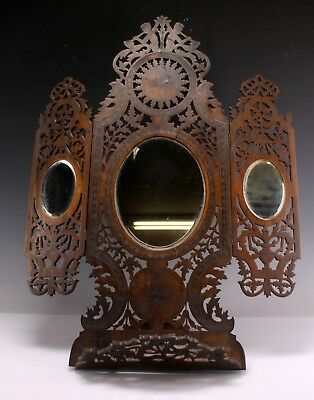 Antique Victorian Inlaid Carved Wood Tryptic Dresser Mirror W/ Shelf Bird Motif