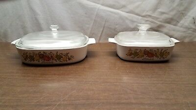 Corning Ware A-1-B & A-8-B Spice of Life Casserole Dishes with Pyrex Glass Lids