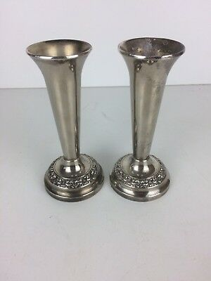 2 X Vintage Silver Plate EPNS Small Posy Vases Pots For Single Flowers