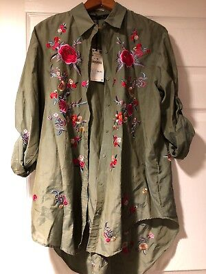 79a79f729cbf NWT Zara Woman Collection Floral Embroidered Shirt Silky Button-down Top M