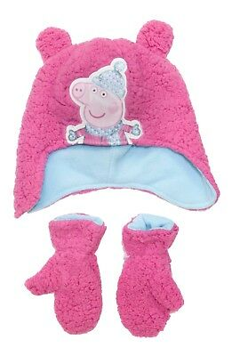 a9f1d22c9a4 Licensed Peppa Pig Pink Winter Beanie Hat With Mittens Age 2-6 Years