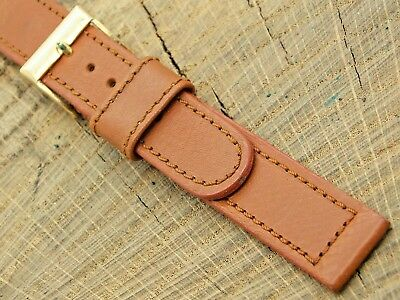 NOS Vintage Brown Calfskin Leather Watch Band w Gold Tone Buckle 16mm Unused