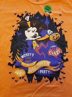 "Disney Parks Mickey Not So Scary Graphic T-Shirt ""I Vant Candy"" KID-XL Orange"