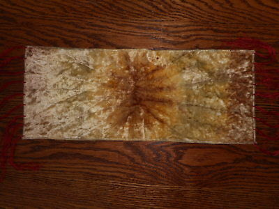 """Victorian Antique Table Runner Cloth Small Side Table Fringe Sun Faded  20.5x8"""""""