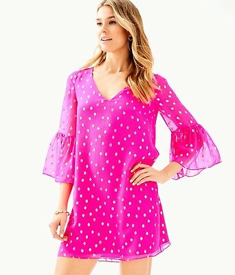 5186712998614e $248 New Lilly Pulitzer CAROLINE SILK TUNIC DRESS Pinata Pink Starry Clip 4  6 14