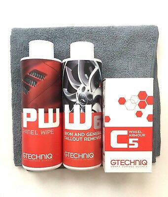 Gtechniq C5 Wheel Protection Kit (15ml) inc W6 fallout remover, MF1, Panel Wipe