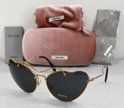 7b47b7f41b4 New Miu Miu Mu55Rs 70E-1A1 Antique Gold Grey Butterfly Sunglasses. 65X18 135