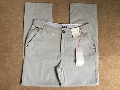 216db95654f Marks And Spencer Per Una Straight Leg Trousers Navy Stripe Size 10 Short  New