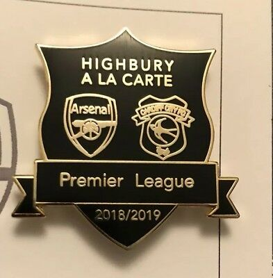 Arsenal V Cardiff City 2019 Auth Magnetic Limited Gold &Black Badge Brand New