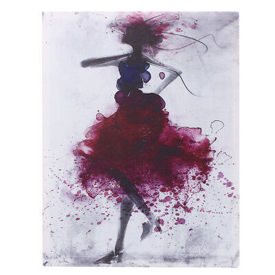 Red Watercolor Fashion Girl Abstract Art Canvas Print Oil Painting Wall Decor