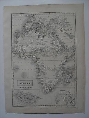 "Map of Africa  - 43½ cm x 32 cm (17¼"" x 12½"") - A. & C.Black - engr. S. Hall"