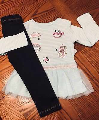 NWT GIRLS ADORABLE OUTFIT TOP Jean LEGGINGS SIZE 4 NEW