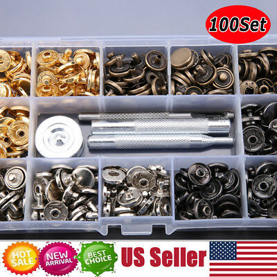 100Pcs/Set Poppers Snap Fasteners Press Stud Sewing For Leather Craft Clothing