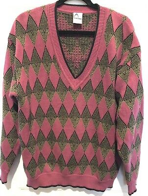 7d9e7aa767e Head Ski Sweater Vintage 70s NOS Slouchy Argyle Cotton Tunic Knit Slouchy  MED