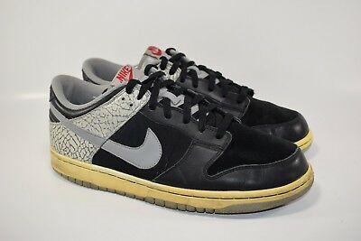 36bc052159d Nike Dunk Low CL Jordan Pack 3 III Black Cement Bred White 304714 905 Size  11
