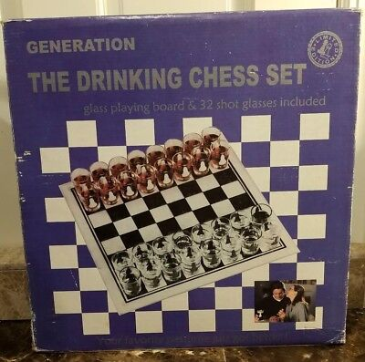 Limited Edition Drinking Chess Set Glass Playing Board Shot glasses Adult Games