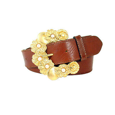 """COMPAGNIE INTERNATIONALE EXPRESS Pearl Buckle Belt Women's L (30""""-36"""") Italy"""