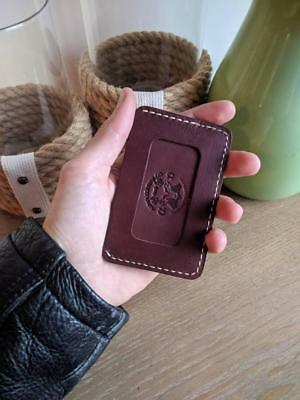 Alpha Leather Co Thumb Slide Genuine Leather Slim Wallet Handmade in USA