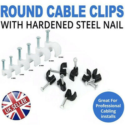 Round Black Packs of 100 White Cable Wire Clips 4mm 9mm with Fixing Nails