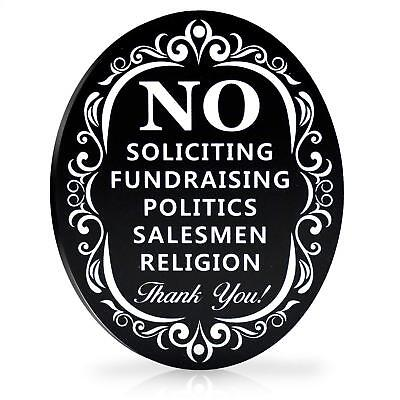 """No Soliciting Metal Sign for Home and Business   Larger Laser Cut Oval 6"""" X"""