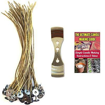 CozYours 8 inch Beeswax Hemp Candle Wicks 50 pcs with Candle Wick Centering