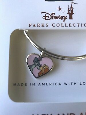 Disney Parks Alex & Ani Lady and The Tramp Pink Heart Silver Bangle Bracelet NEW