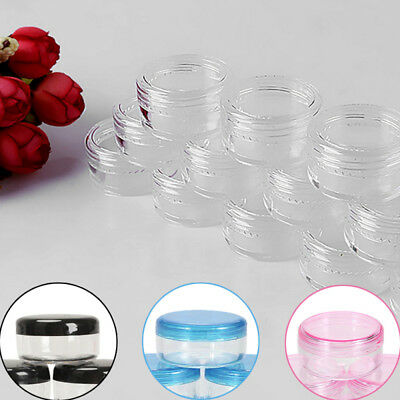 10X Small Clear Plastic Sample Container Mini Bottle Pot Jars Cosmetic Tools