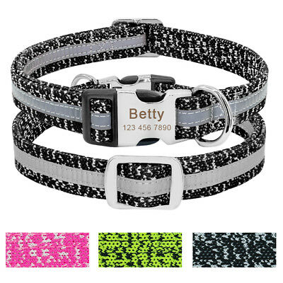Small Large Nylon Reflective Personalized Dog Collar Custom ID Name Tag Engraved