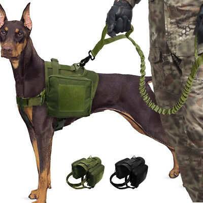 Dog Tactical Vest Leash Molle Canine Harness Hunting Training Military Large K9