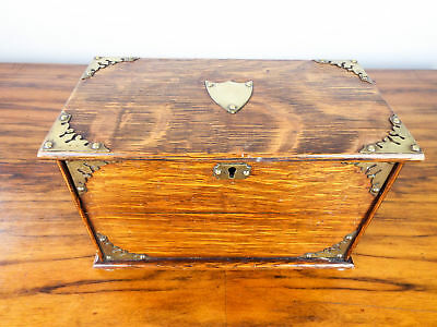 Antique English Wooden Oak Cigarette Box Edwardian Brass Bound Case 1902 Reg No