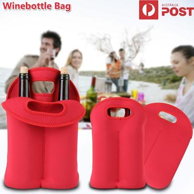 Red Double Bottle Wine Beer Cooler Insulated Neoprene Tote Bag Carrier Gift Case