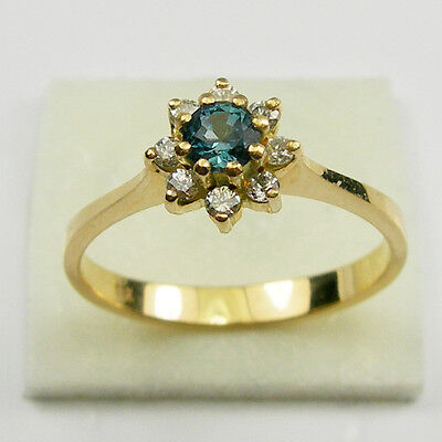 Teal Blue Aus Sapphire Diamond Halo Dress Ring Genuine 750 18ct 18k Yellow Gold