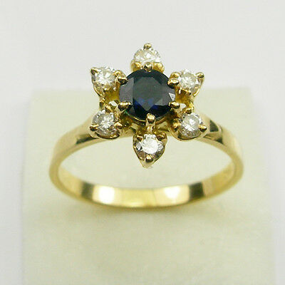 Deep Blue Sapphire Diamond Halo Engagement Ring Genuine 750 18k 18ct Yellow Gold