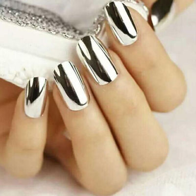 0.5G Silver Effect Mirror Chrome Nail Powder Pigment No Polish Foil Nails Tips