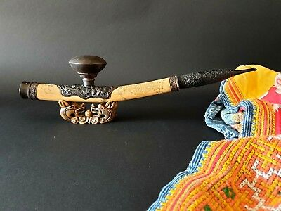 Old Oriental Smoking Pipe with English Hallmarked Stem …beautiful collection / d