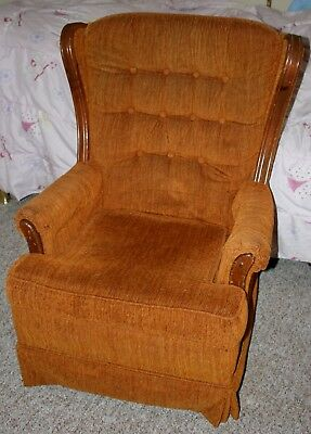 Vintage Wing Back Swivel Rocker/Rocking Easy Chair Fabric/Wood Button Upholstery