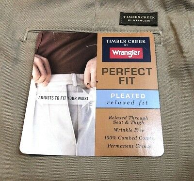 74a7cad5 Timber Creek by Wrangler Perfect Fit Relaxed Pants Mens 44 x 32 New Tags  Tan 1
