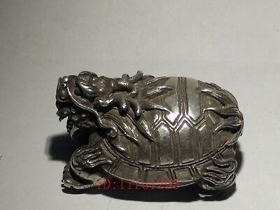 Collecting Ancient China Tibet Silver Dragon Turtle Statue Pendant Decoration
