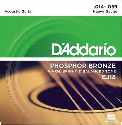D'Addario EJ18 Phosphor Bronze Heavy 14-59 Acoustic Guitar Strings