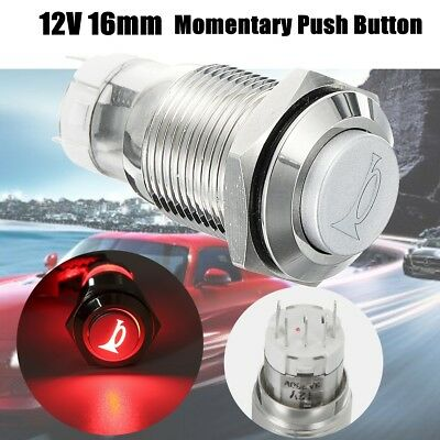 12V 16mm Car LED Light Waterproof Momentary Horn Metal Push Button Switch Red