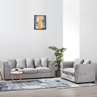 Original Chicago Crushed Velvet Silver Sofa 2 Seater 3 Seater Or 3 + 2 Seater