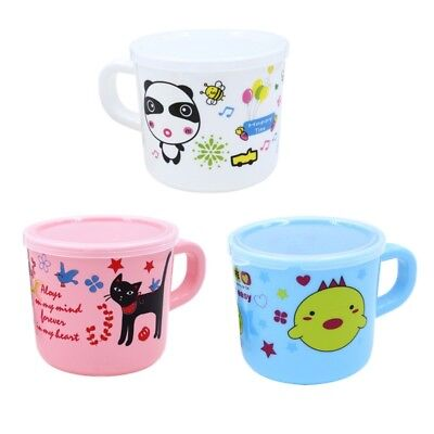 150ML Reusable Cute Cartoon Baby Kids Plastic Water Mug Cup With Handle Cover AU