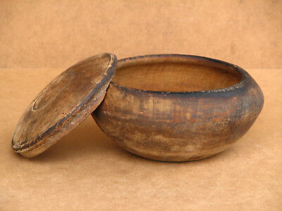 Old Antique Primitive Wooden Wood Plate Bowl Box Spices Cup Meal Big Patina 19th