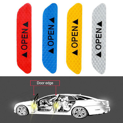 4pcs/set Car Door Open Reflective Sticker Tape Decal Safety Warning Decal New