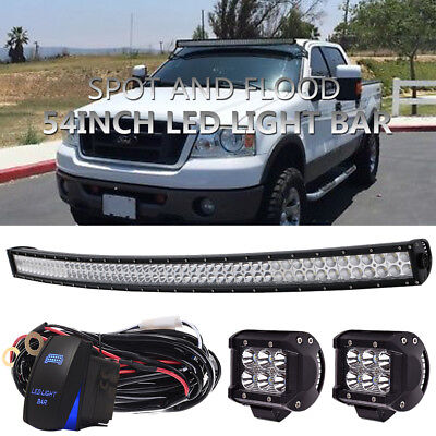 """54inch Led Light bar Curved+4""""LED Pods CREE Lamps Off road SUV Jeep 4WD Truck 52"""