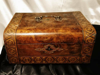 Victorian sewing box, walnut and straw work inlaid parquetry box, large antique